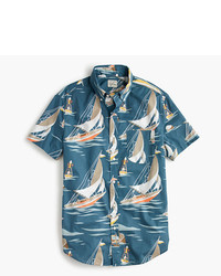 J.Crew Slub Cotton Short Sleeve Shirt In Sailboat Print