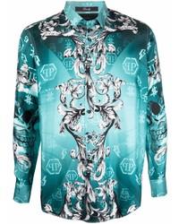 Philipp Plein Baroque Print Silk Shirt