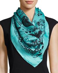 Gucci Noodle Foulard Takeout Print Silk Twill Scarf