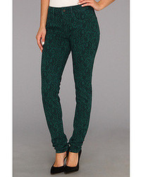 Alexa mid rise super skinny in teal jacquard medium 85523