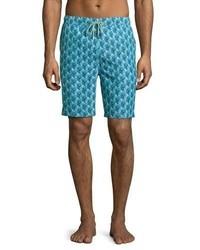 Teal Print Swim Shorts