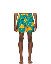 Vilebrequin Blue And Yellow Capri Moorea Swim Shorts
