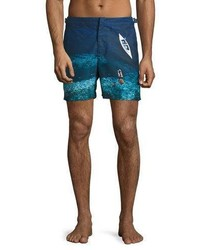 Orlebar Brown Bulldog Deep Sea Printed Swim Trunks Blue