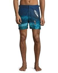 Orlebar Brown Bulldog Deep Sea Printed Swim Trunks Blue