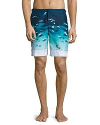 Orlebar Brown Dane Boat Print Swim Trunks Blue