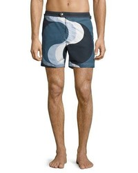 Tom Ford Wave Print Swim Trunks Navy