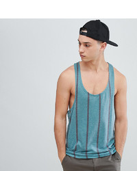 ASOS DESIGN Tall Striped Extreme Racer Back Vest In Textured Fabric