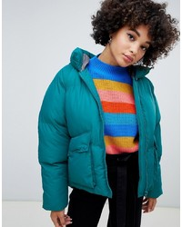 Missguided Hooded Padded Jacket In Teal