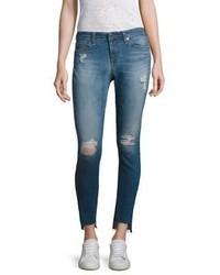AG Jeans Ag Middi Distressed Step Hem Ankle Skinny Jeans