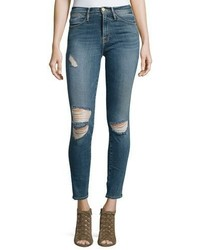 Frame Le High Distressed Skinny Jeans Navy Yard