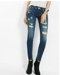 Express Low Rise Distressed Stretch Skinny Jeans