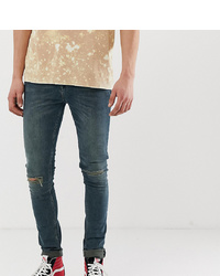 ASOS DESIGN Tall Super Skinny Jeans In Green Cast With Knee Rips
