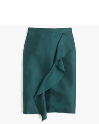 J.Crew Collection Ruffle Pencil Skirt In Double Faced Satin