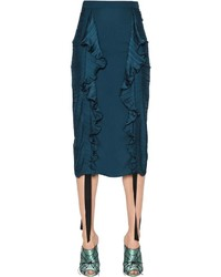 Marco De Vincenzo Ruffled Satin Pencil Skirt