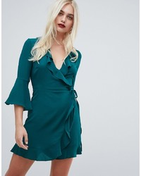 Outrageous Fortune Ruffle Wrap Dress With Fluted Sleeve In Green