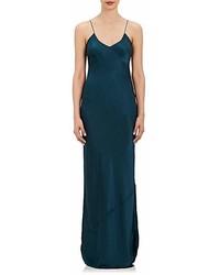 Teal Satin Maxi Dress