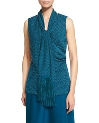 St. John Collection Fil Coup Shell W Fringe Scarf Tanzanite
