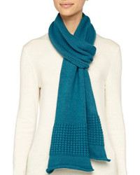 Portolano Mixed Knit Cashmere Blend Scarf Teal