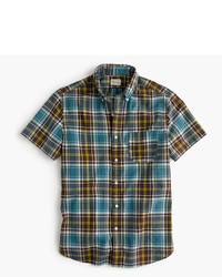 J.Crew Short Sleeve Madras Shirt In Dusty Turnip