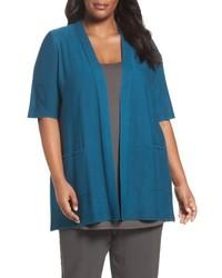 Eileen Fisher Plus Size Simple Tencel Merino Wool Cardigan