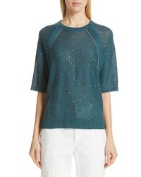 Brunello Cucinelli Sequin Monili Embellished Linen Silk Sweater