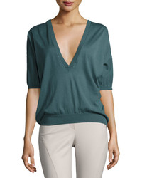 Brunello Cucinelli V Neck Cashmere Blend Sweater Dark Green