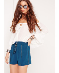 Missguided Ladder Insert Floaty Shorts Blue