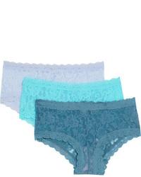 Hanky Panky Signature Set Of Three Stretch Lace Boy Shorts Storm Blue