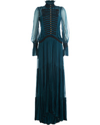 Roberto Cavalli High Collar Silk Evening Gown