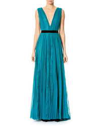 Carolina Herrera Paneled Lace Chiffon V Neck Gown