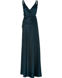 Collette Dinnigan Teal Silk Satin Gown With Crystal Embellisht