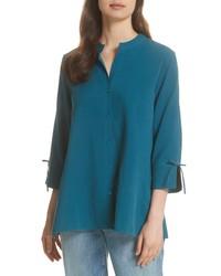 Eileen Fisher Tie Sleeve Silk Shirt