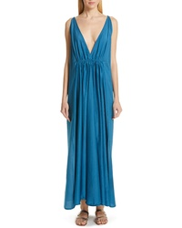 Teal Silk Maxi Dress
