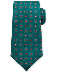 Kiton Flower Neat Silk Tie Green