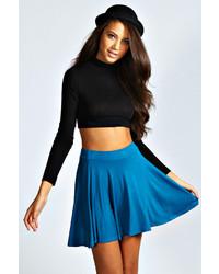 Boohoo Carey Flippy Jersey Skater Skirt