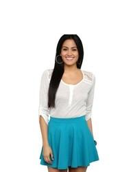 Deb Solid Knit Skater Skirt Teal