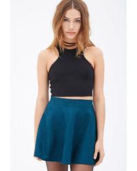 Forever 21 Textured Floral Skater Skirt