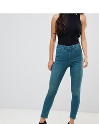 Asos Petite Asos Design Petite Ridley High Waist Skinny Jeans In Mid Green Blue Tone Wash