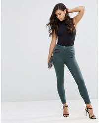 Stretch skinny pants with pu pockets medium 836935