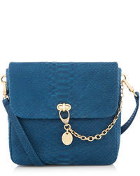 Teal Snake Leather Crossbody Bag
