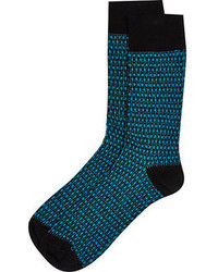 River Island Blue Turquoise Tile Socks
