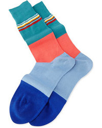 Paul Smith Multi Top Block Knit Socks Teal