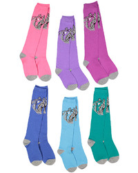 Purple Teal Horse Six Pair Knee High Socks Set