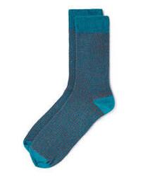 Topman Teal Birdseye Pattern Socks