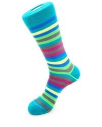 Unsimply Stitched 6 Color Stripe Socks Tealbluegreen