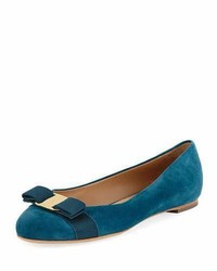 Bow suede ballerina flat teal medium 3729368