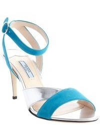 Teal Suede Heeled Sandals