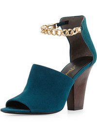 3.1 Phillip Lim Berlin Ankle Chain Suede Sandal Teal