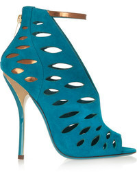 Jimmy Choo Tamber Cutout Suede And Metallic Leather Sandals