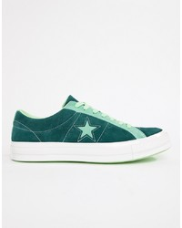 Converse One Star Ox Plimsolls In Green 161614c